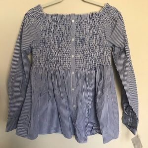 NWT Halogen Off the Shoulder Button Down Blouse